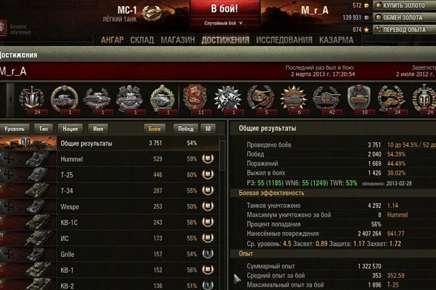 Расширенная статистика игрока World of Tanks