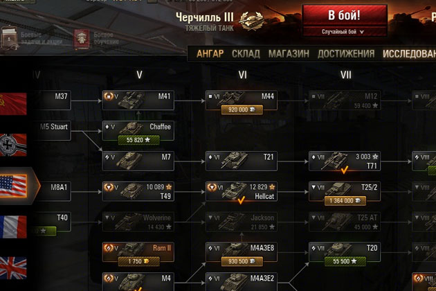 Ветка США в World of Tanks