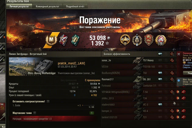 Узнать кпд World of Tanks