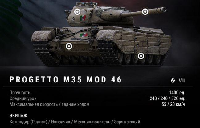Progetto M35 mod 46: тактико-технические характеристики
