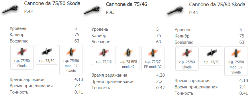 3 орудия P.43