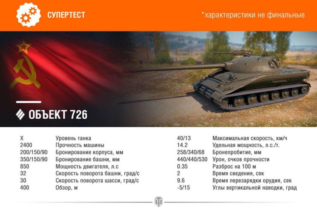 Объект 726: тактико-технические характеристики