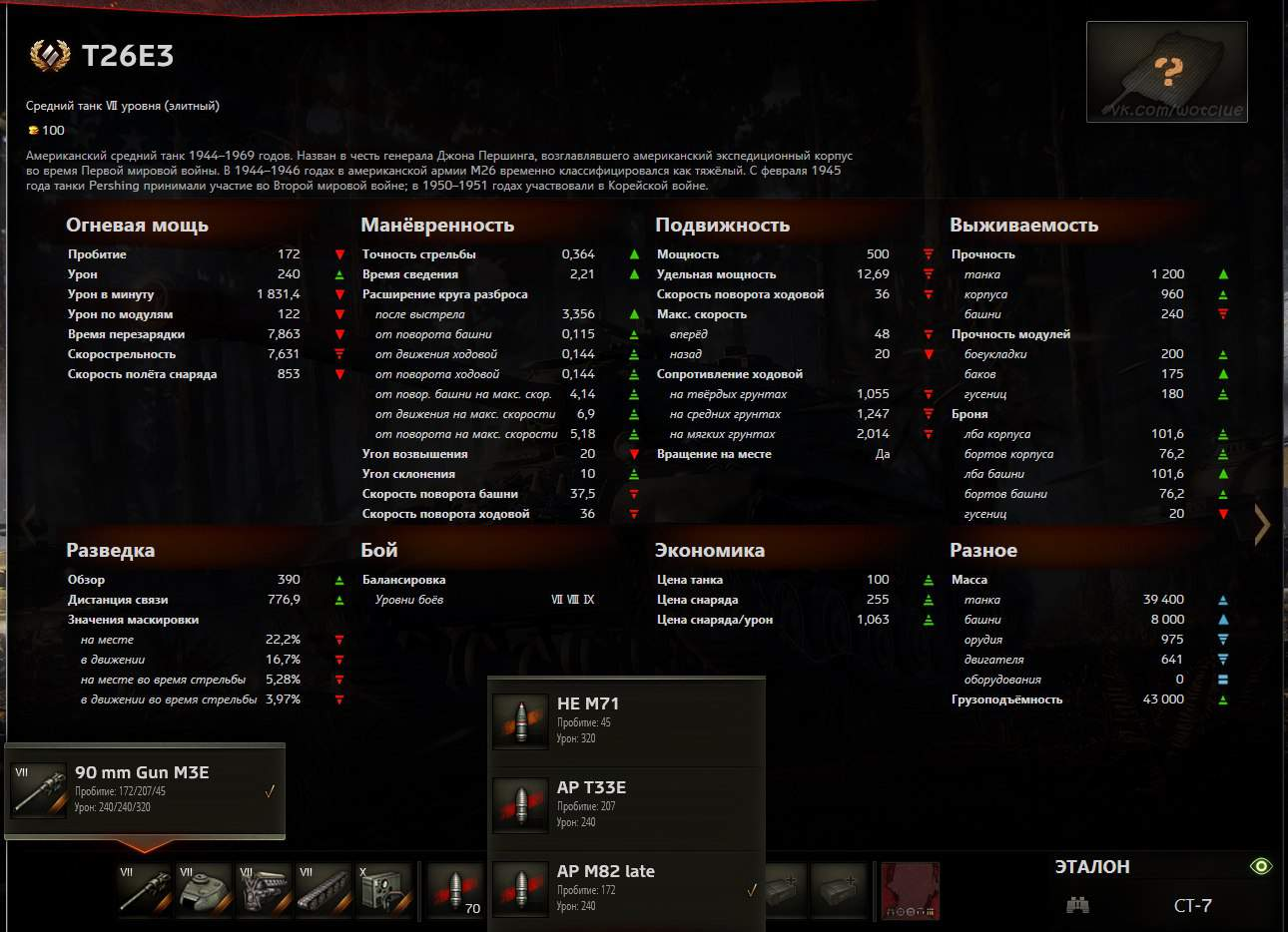 T26E3: тактико-технические характеристики
