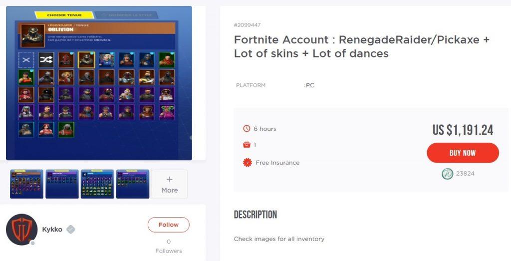 Геймеры Fortnite решили заработать на своих аккаунтах