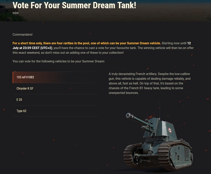 World Of Tanks голосование
