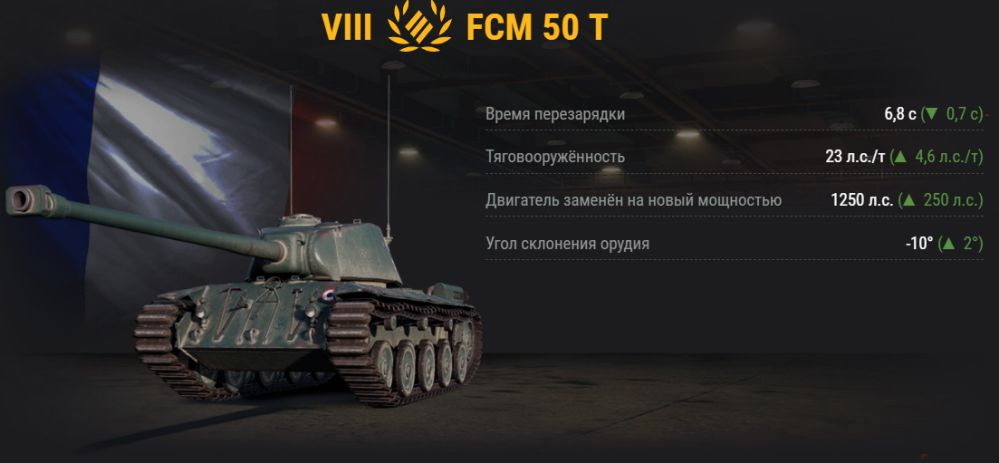 UP ТТХ у FCM 50 T в обновлении 1.2