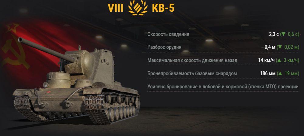 UP ТТХ у КВ-5 в обновлении 1.2
