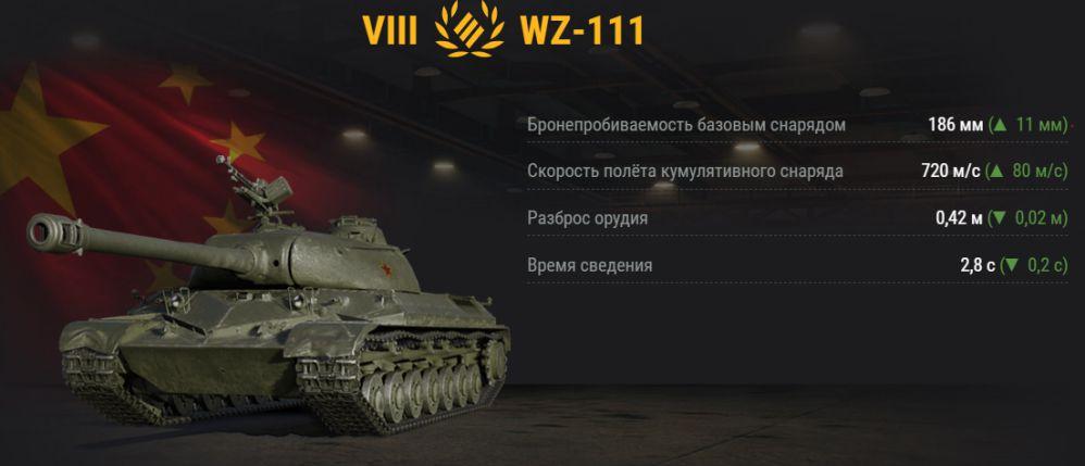 UP ТТХ у wz-111 в обновлении 1.2